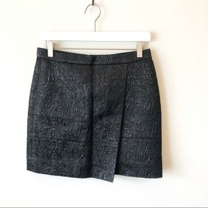 J.Crew Black Mini Origami Skirt Metallic Matelassé